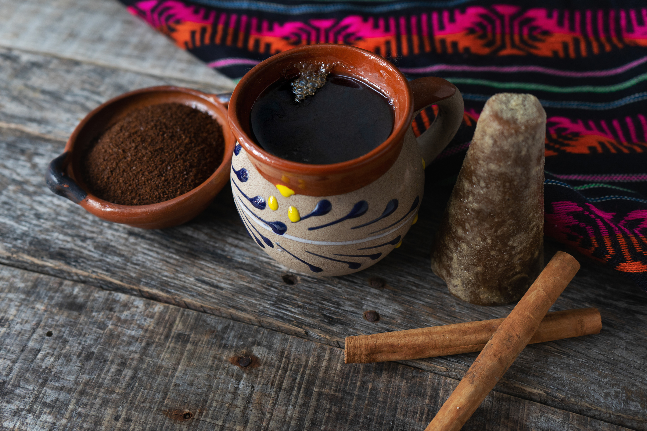 mexican cup of coffee with cinnamon on wooden background