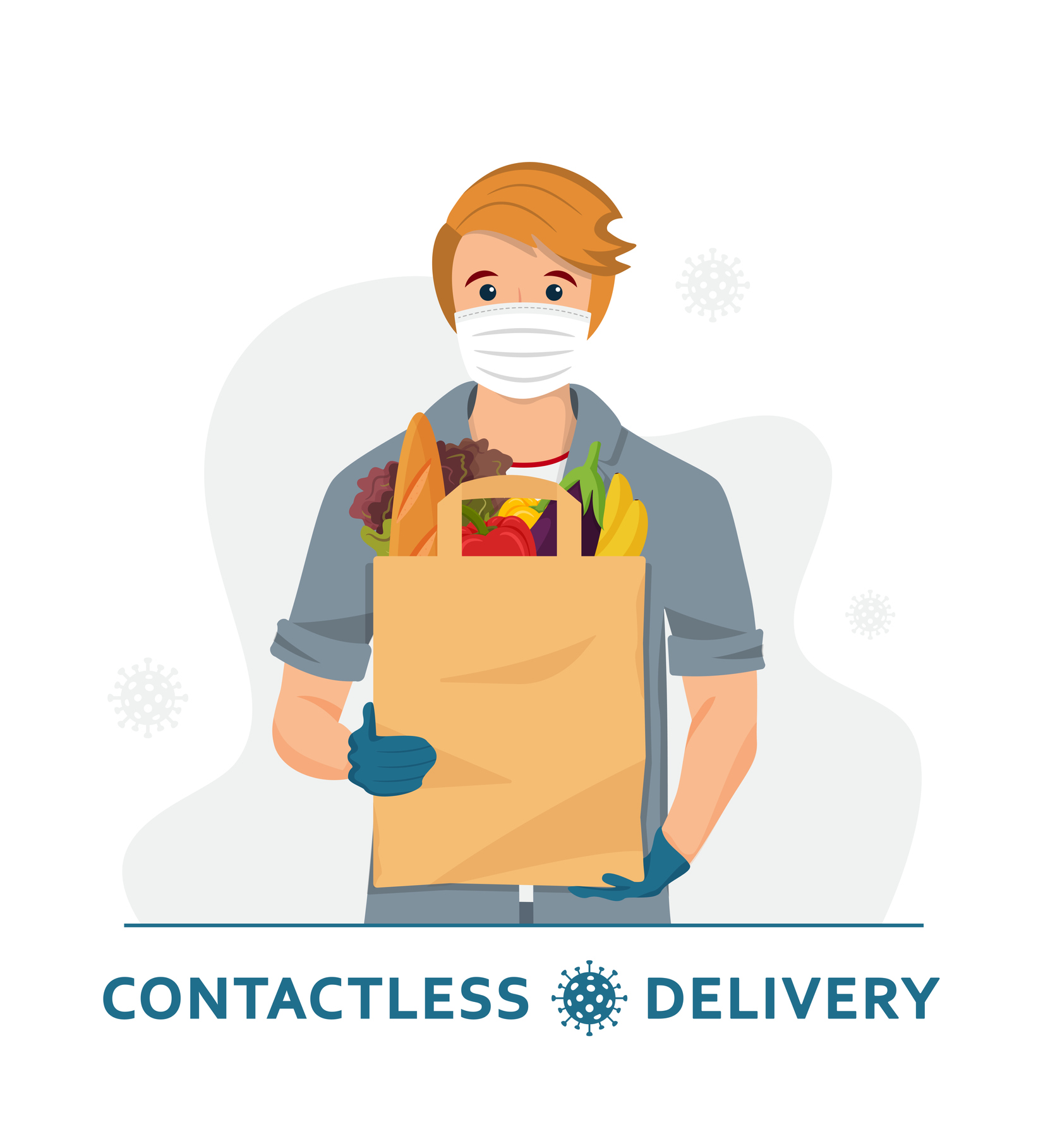 Contactless delivery. Delivery man / courier in a medical mask and gloves with paper bag.